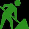 Icon eines Atbeiters, der mit einer Schaufel gräbt.