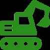 Ein grünes Icon in Form eines Baggers.